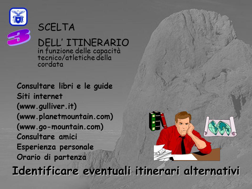 C0mmissione Interregionale Scuole di Alpinismo e Sci Alpinismo LPV SCELTA DELL' ITINERARIO in funzione delle capacità tecnico/atletiche della cordata