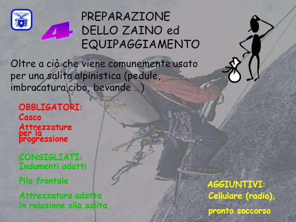 C0mmissione Interregionale Scuole di Alpinismo e Sci Alpinismo LPV PREPARAZIONE DELLO ZAINO ed EQUIPAGGIAMENTO CONSIGLIATI: Indumenti adatti Pila frontale Attrezzatura adatta in relazione alla salita AGGIUNTIVI: Cellulare (radio), pronto soccorso Oltre a ciò che viene comunemente usato per una salita alpinistica (pedule, imbracatura,cibo, bevande …) OBBLIGATORI: Casco Attrezzature per la progressione