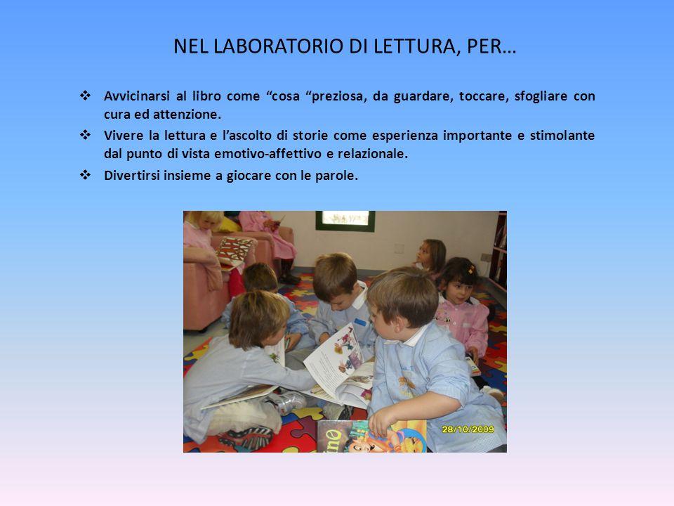 NEL LABORATORIO DI LETTURA, PER…  Avvicinarsi al libro come cosa preziosa, da guardare, toccare, sfogliare con cura ed attenzione.