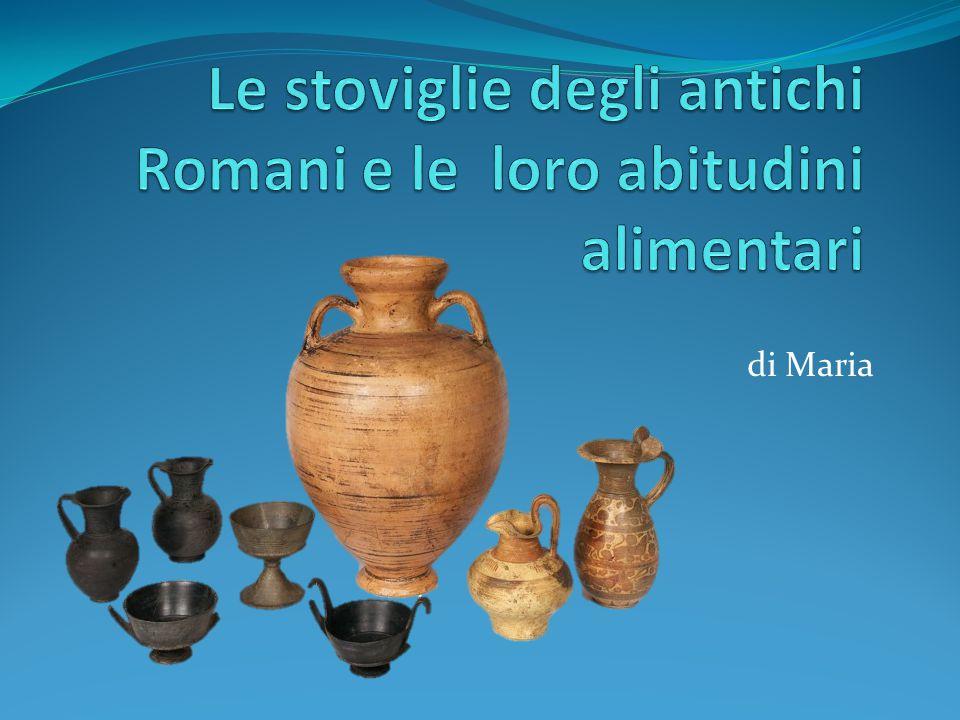 Nomi delle Stoviglie amphora, –ae anfora, vaso (a due manici, per olio, vino ecc.) calix, –icis calice, bicchiere antharus, –i cantaro, coppa a due anse catinus, –i piatto fondo, scodella cochlear, –aris cucchiaio crater, –eris cratere, brocca (dove si mescolavano vino e acqua) culter, –cultri coltello linteum, –i tovagliolo (di lino) patella, –ae piatto (per cuocere o servire le vivande) patina, –ae piatto; padella poc(u)lum, –i bicchiere, coppa; bevanda scyphus, –i coppa, tazza trulla, –ae mestolo
