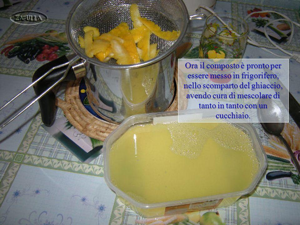 Filtriamo lo sciroppo al limone per togliere le scorzette, e lo poniamo in una vaschetta da gelato o, anche, nelle vaschette del ghiaccio private dei