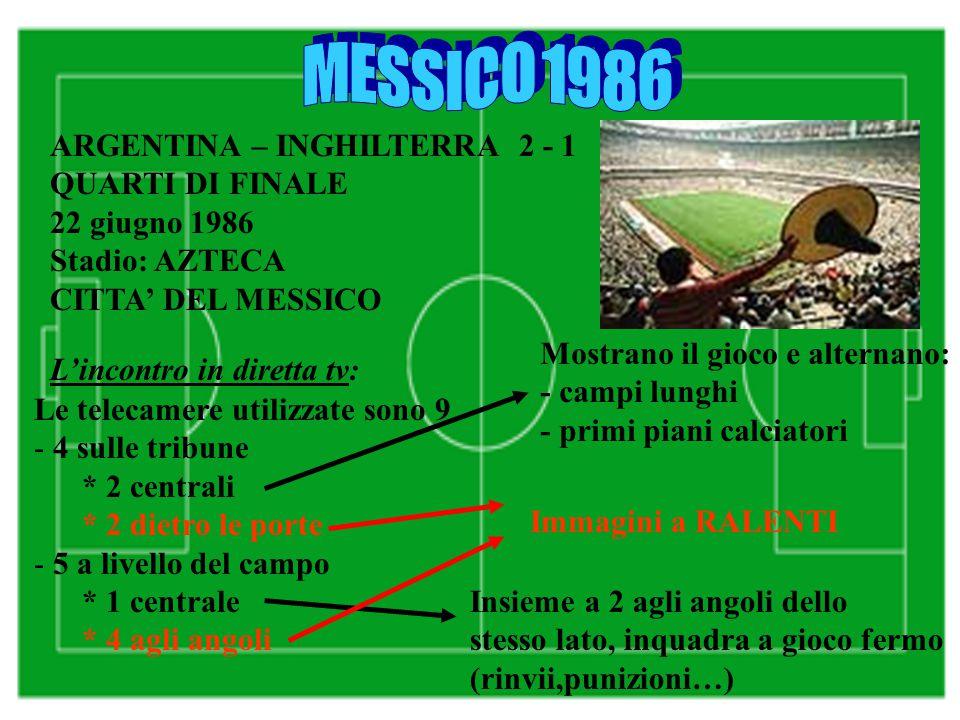 ARGENTINA – INGHILTERRA 2 - 1 QUARTI DI FINALE 22 giugno 1986 Stadio: AZTECA CITTA' DEL MESSICO L'incontro in diretta tv: Le telecamere utilizzate sono 9 - 4 sulle tribune * 2 centrali * 2 dietro le porte - 5 a livello del campo * 1 centrale * 4 agli angoli Mostrano il gioco e alternano: - campi lunghi - primi piani calciatori Insieme a 2 agli angoli dello stesso lato, inquadra a gioco fermo (rinvii,punizioni…) Immagini a RALENTI