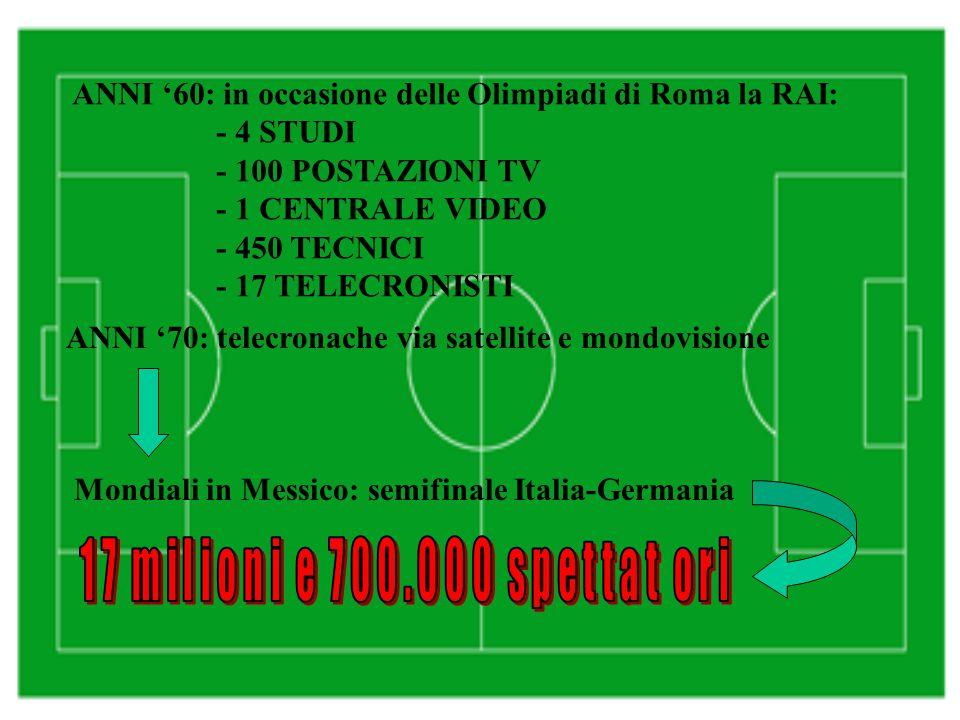 ANNI '60: in occasione delle Olimpiadi di Roma la RAI: - 4 STUDI - 100 POSTAZIONI TV - 1 CENTRALE VIDEO - 450 TECNICI - 17 TELECRONISTI ANNI '70: telecronache via satellite e mondovisione Mondiali in Messico: semifinale Italia-Germania