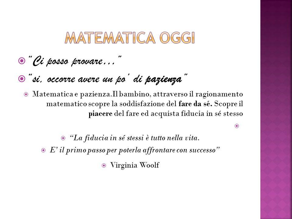  Ci posso provare…  si, occorre avere un po' di pazienza  Matematica e pazienza.Il bambino, attraverso il ragionamento matematico scopre la soddisfazione del fare da sé.