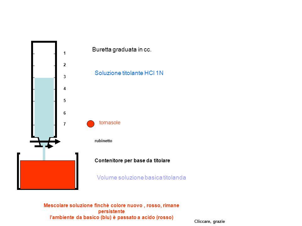 1 2 3 4 5 6 7 Buretta graduata in cc. rubinetto Contenitore per base da titolare Volume soluzione basica titolanda Soluzione titolante HCl 1N tornasol
