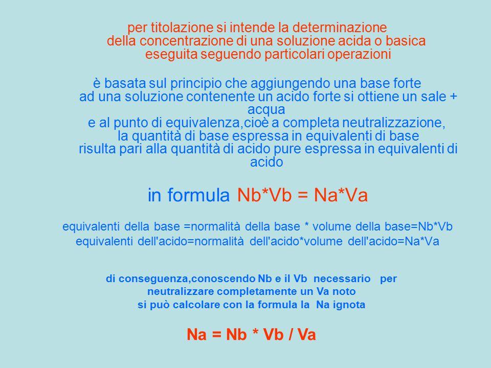 per titolazione si intende la determinazione della concentrazione di una soluzione acida o basica eseguita seguendo particolari operazioni è basata su