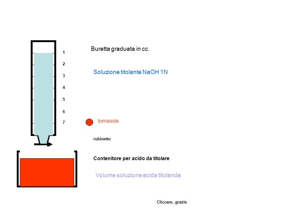 1 2 3 4 5 6 7 Buretta graduata in cc. rubinetto Contenitore per acido da titolare Volume soluzione acida titolanda Soluzione titolante NaOH 1N tornaso