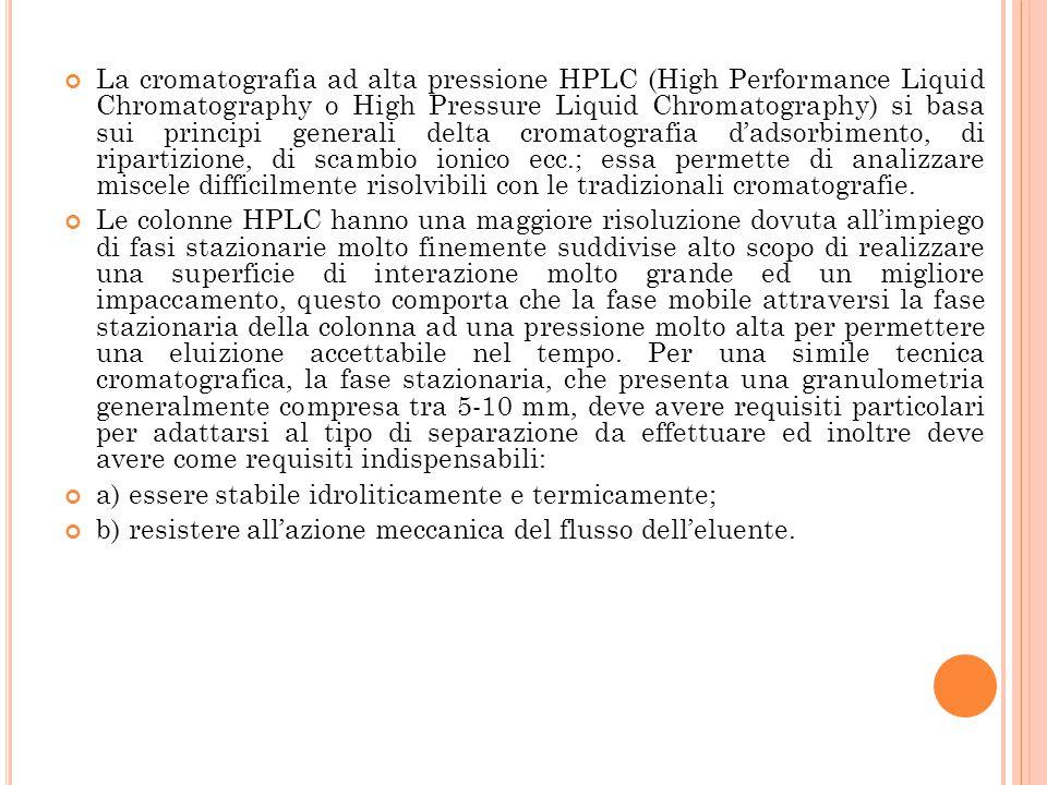 La cromatografia ad alta pressione HPLC (High Performance Liquid Chromatography o High Pressure Liquid Chromatography) si basa sui principi generali d