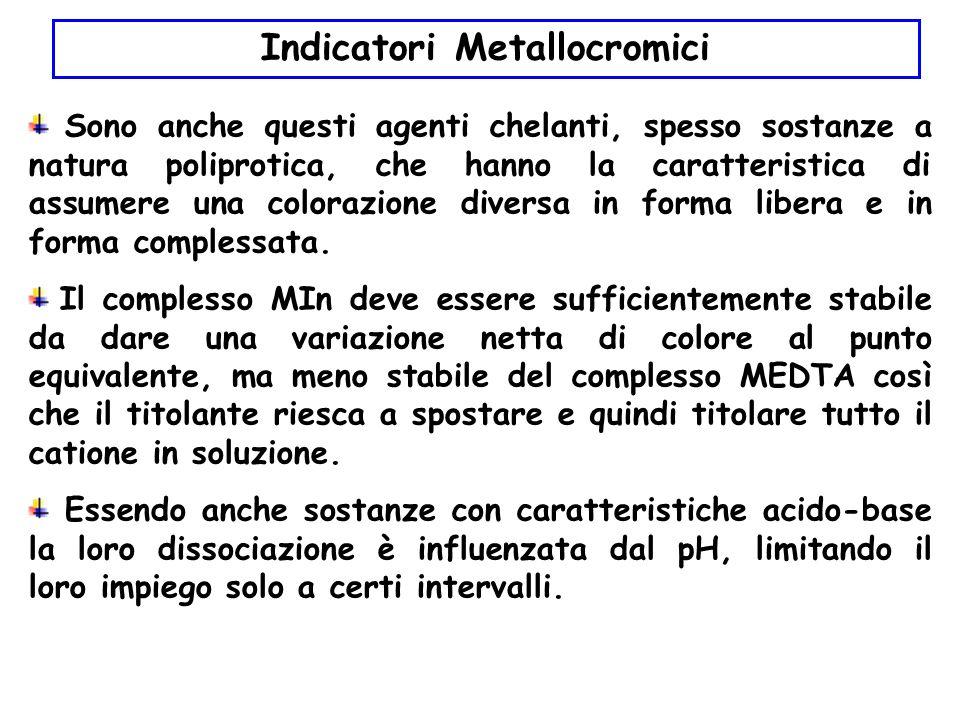 Indicatori Metallocromici Sono anche questi agenti chelanti, spesso sostanze a natura poliprotica, che hanno la caratteristica di assumere una colorazione diversa in forma libera e in forma complessata.