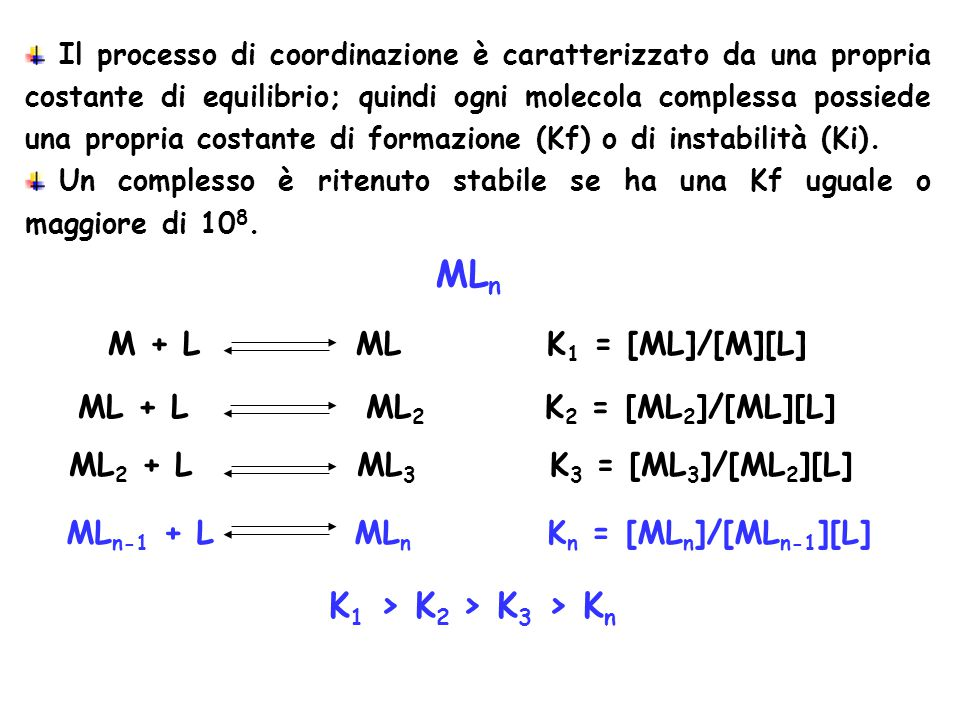 [Y 4- ] [Y 4- ]+[HY 3- ]+[H 2 Y 2- ]+[H 3 Y - ]+[H 4 Y]+[H 5 Y + ]+[H 6 Y 2+ ]  y 4- = [Y 4- ]+[HY 3- ]+[H 2 Y 2- ]+[H 3 Y - ]+[H 4 Y]+[H 5 Y + ]+[H 6 Y 2+ ] = [EDTA] [Y 4- ] [EDTA]  y 4- = [Y 4- ] =  y 4- [EDTA] Kf = [MY] n+4- /[M n+ ] [Y 4- ] Kf = [MY] n+4- [M n+ ]  y 4- [EDTA]  y 4- Kf = K'f = [MY] n+4- [EDTA][M n+ ] Se pH=costante allora  y 4- =costante