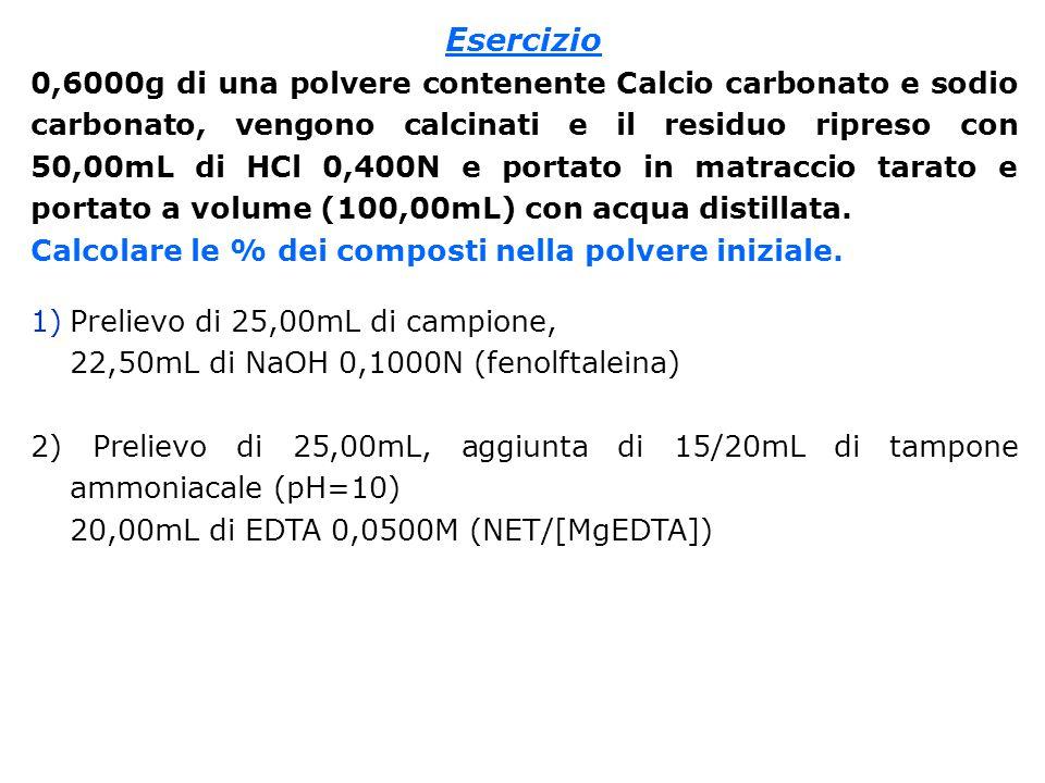 Esercizio 0,6000g di una polvere contenente Calcio carbonato e sodio carbonato, vengono calcinati e il residuo ripreso con 50,00mL di HCl 0,400N e portato in matraccio tarato e portato a volume (100,00mL) con acqua distillata.