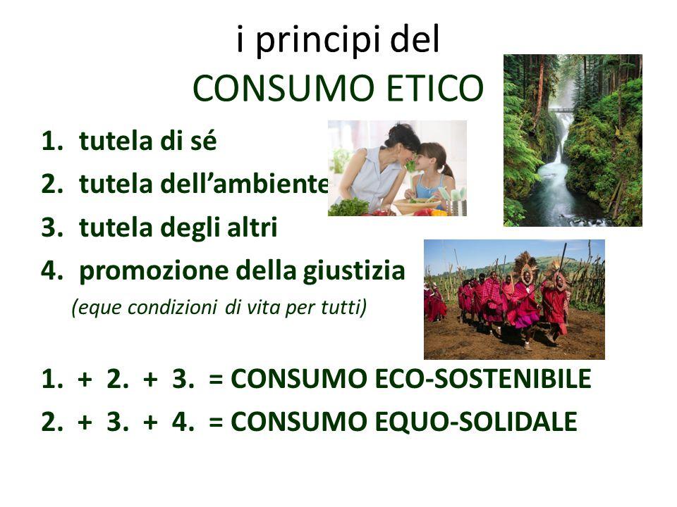 i principi del CONSUMO ETICO 1.tutela di sé 2.tutela dell'ambiente 3.tutela degli altri 4.promozione della giustizia (eque condizioni di vita per tutti) 1.