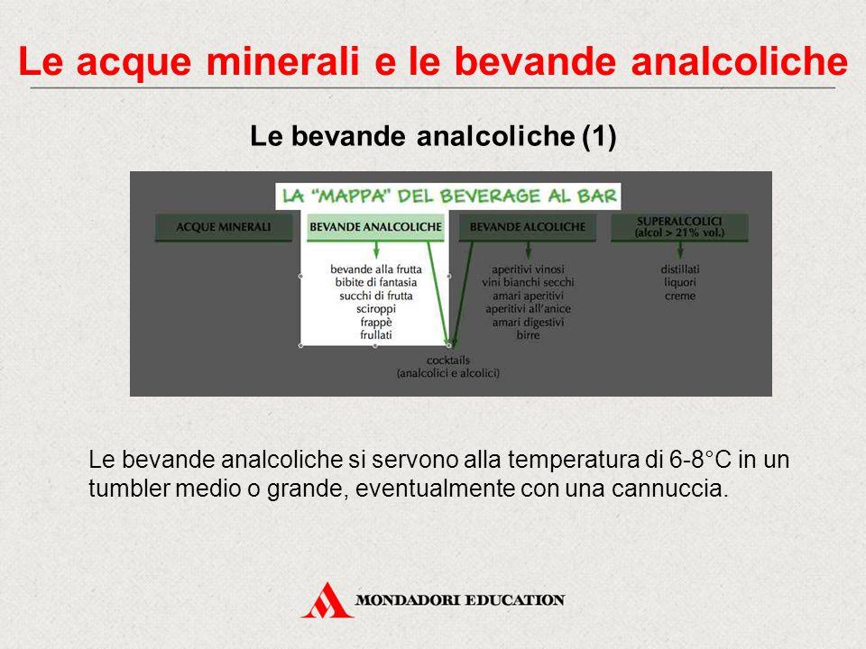 Il gusto dell'acqua dipende: - dal grado di mineralizzazione - dalla quantità di anidride carbonica. Per il servizio si usano gli appositi bicchieri i