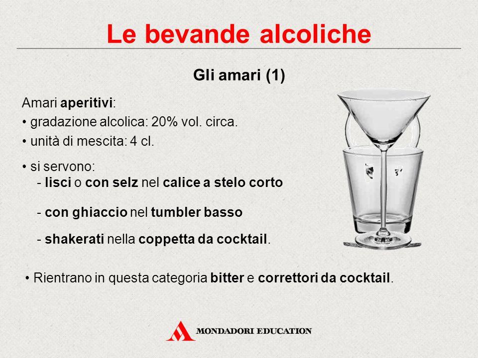 Aperitivi all'anice I più noti in Italia sono la Sambuca e l'Anisetta. Gradazione alcolica: 40-45% vol. Unità di mescita: 25-30 centilitri in un tumbl