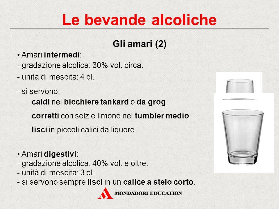 Amari aperitivi: gradazione alcolica: 20% vol. circa. unità di mescita: 4 cl. si servono: - lisci o con selz nel calice a stelo corto Rientrano in que