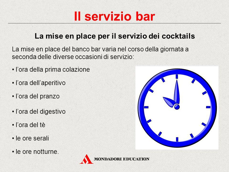 Il servizio di bar La caffetteria Le acque minerali e le bevande analcoliche Le bevande alcoliche I cocktails