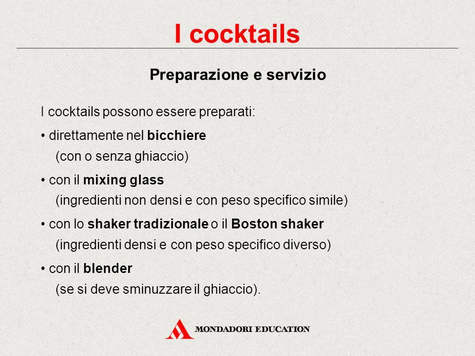 In base all'unità di mescita: - short drinks (aperitivi o digestivi): massimo 7 cl - medium drinks (cocktails vari): tra i 9 e i 13 cl - long drinks (