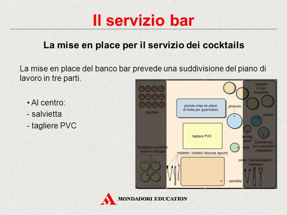 La mise en place del banco bar varia nel corso della giornata a seconda delle diverse occasioni di servizio: l'ora dell'aperitivo l'ora della prima co