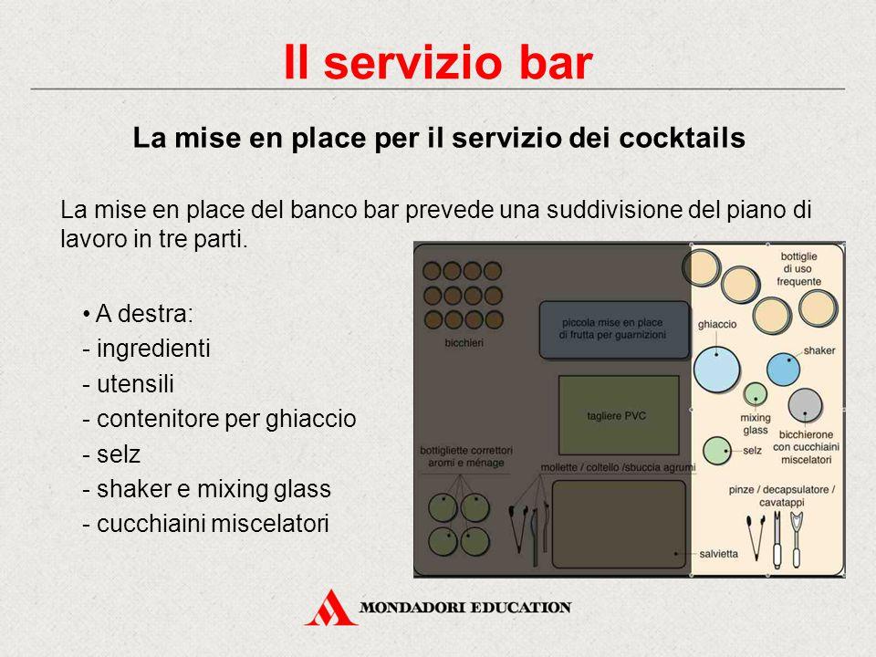 A destra: - ingredienti - utensili - contenitore per ghiaccio - selz - shaker e mixing glass - cucchiaini miscelatori La mise en place del banco bar prevede una suddivisione del piano di lavoro in tre parti.