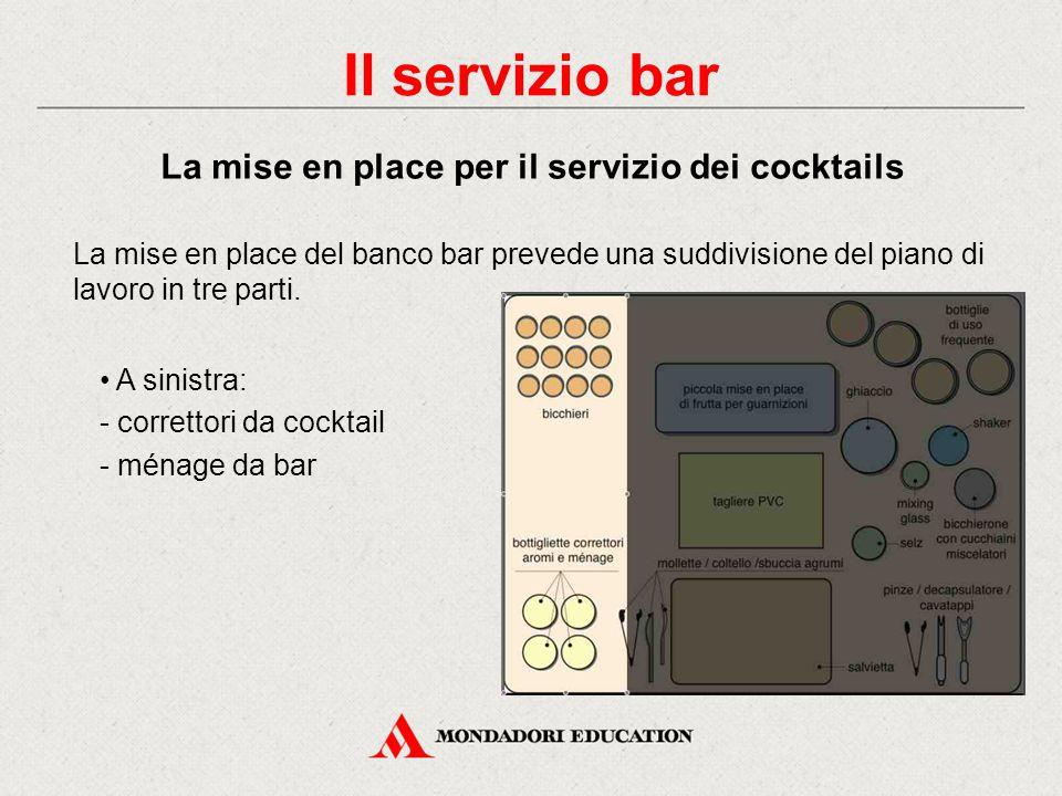 A destra: - ingredienti - utensili - contenitore per ghiaccio - selz - shaker e mixing glass - cucchiaini miscelatori La mise en place del banco bar p