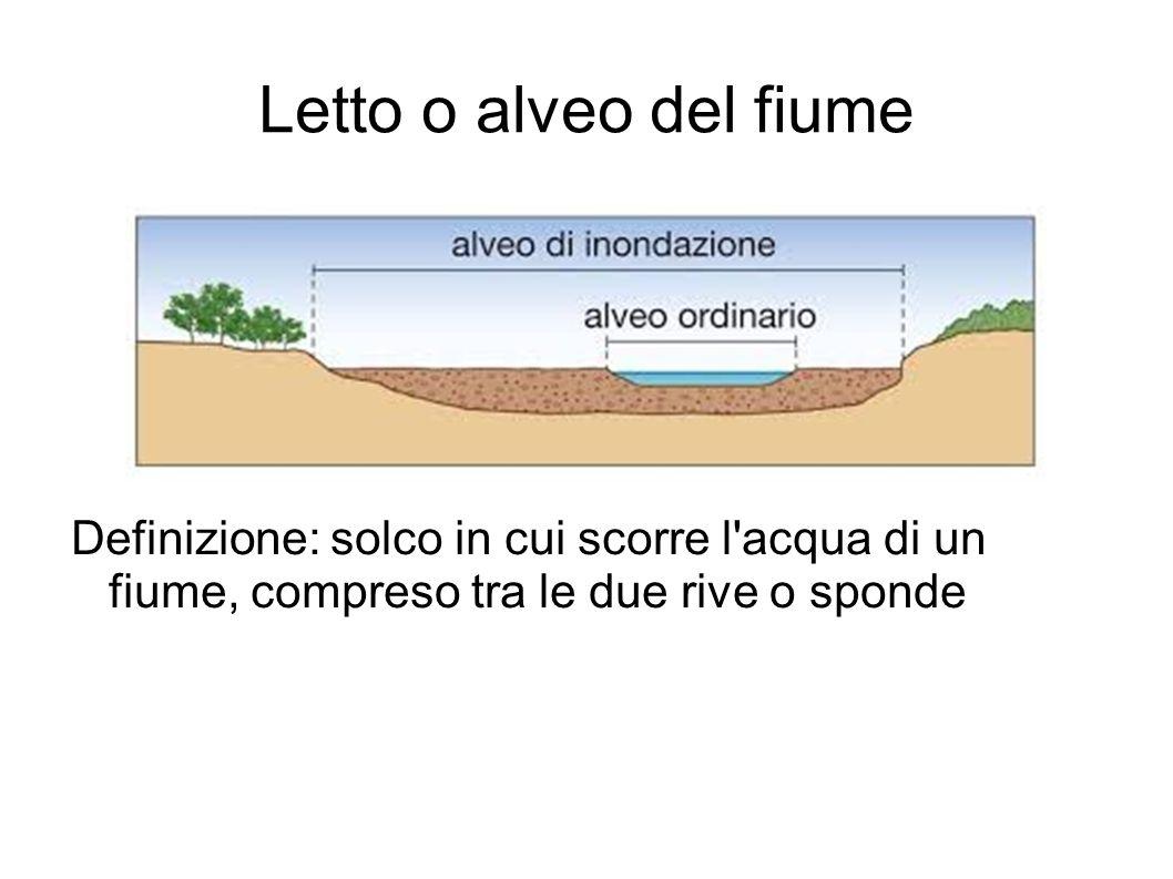Letto o alveo del fiume Definizione: solco in cui scorre l acqua di un fiume, compreso tra le due rive o sponde