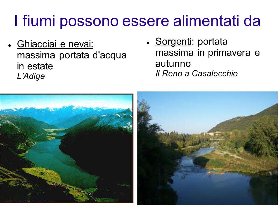 I fiumi possono essere alimentati da Ghiacciai e nevai: massima portata d acqua in estate L Adige Sorgenti: portata massima in primavera e autunno Il Reno a Casalecchio