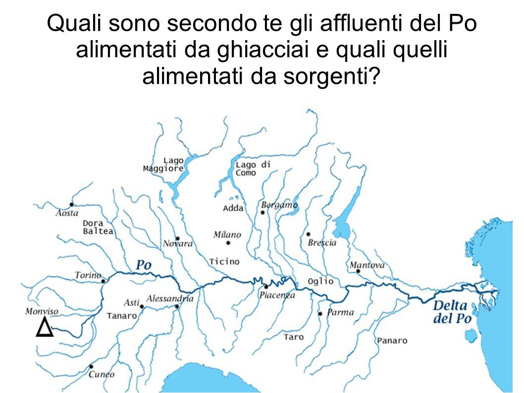 Quali sono secondo te gli affluenti del Po alimentati da ghiacciai e quali quelli alimentati da sorgenti?