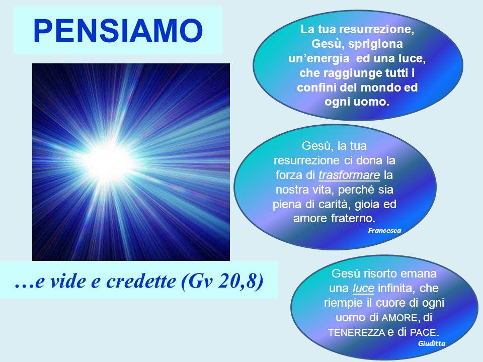 PENSIAMO La tua resurrezione, Gesù, sprigiona un'energia ed una luce, che raggiunge tutti i confini del mondo ed ogni uomo. Gesù, la tua resurrezione