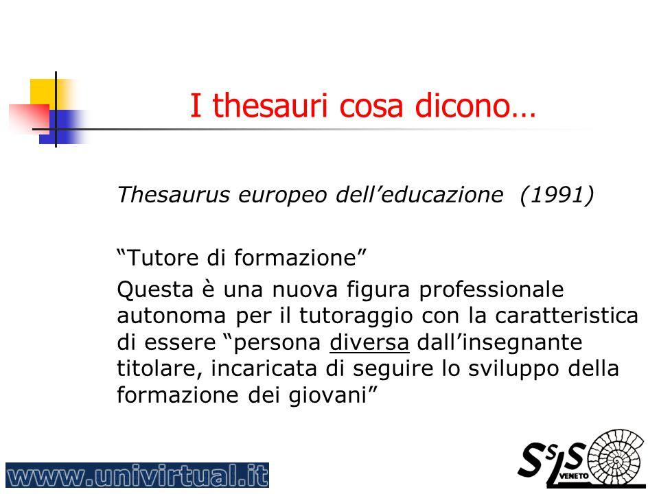 """I thesauri cosa dicono… Thesaurus europeo dell'educazione (1991) """"Tutore di formazione"""" Questa è una nuova figura professionale autonoma per il tutora"""