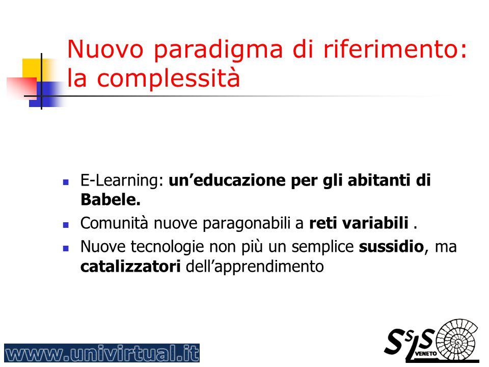 Nuovo paradigma di riferimento: la complessità E-Learning: un'educazione per gli abitanti di Babele. Comunità nuove paragonabili a reti variabili. Nuo