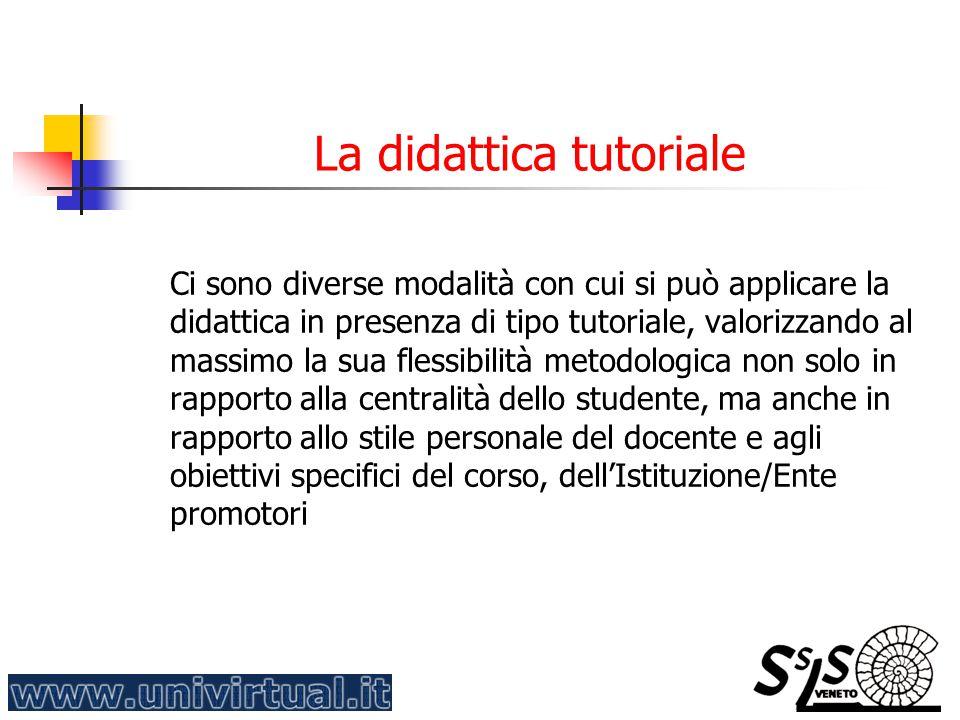 La didattica tutoriale Ci sono diverse modalità con cui si può applicare la didattica in presenza di tipo tutoriale, valorizzando al massimo la sua fl