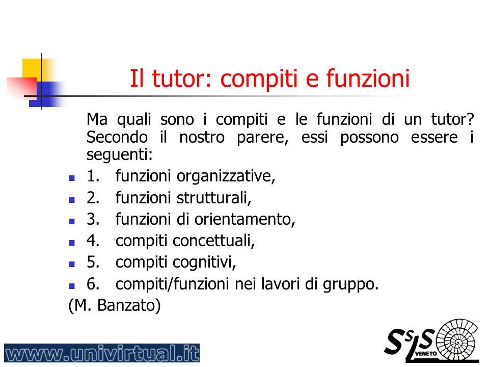Il tutor: compiti e funzioni Ma quali sono i compiti e le funzioni di un tutor? Secondo il nostro parere, essi possono essere i seguenti: 1. funzioni