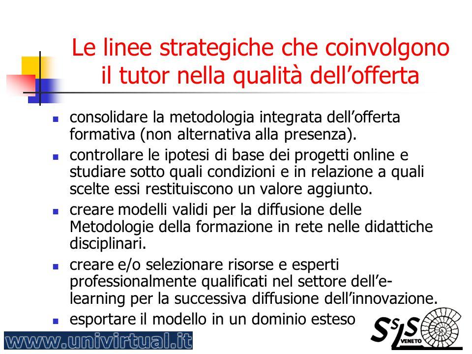 Le linee strategiche che coinvolgono il tutor nella qualità dell'offerta consolidare la metodologia integrata dell'offerta formativa (non alternativa