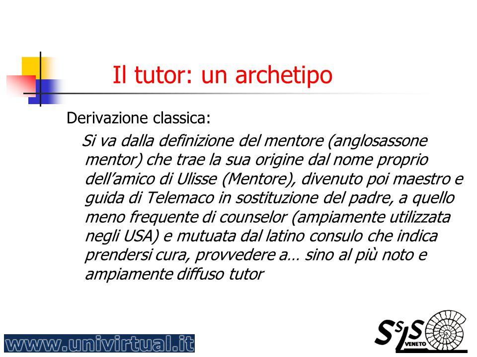 Il tutor: un archetipo Derivazione classica: Si va dalla definizione del mentore (anglosassone mentor) che trae la sua origine dal nome proprio dell'a