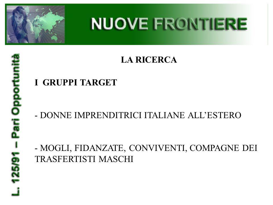 LA RICERCA IL PERCORSO A) L'AZIENDA: - LE POLITICHE DEL PERSONALE NEI PROCESSI DI DELOCALIZZAZIONE (COMMERCIALIZZAZIONE O INTERNAZIONALIZZAZIONE) - I PROFILI DELLE DONNE INTERESSATE A TRASFERTE ALL'ESTERO -