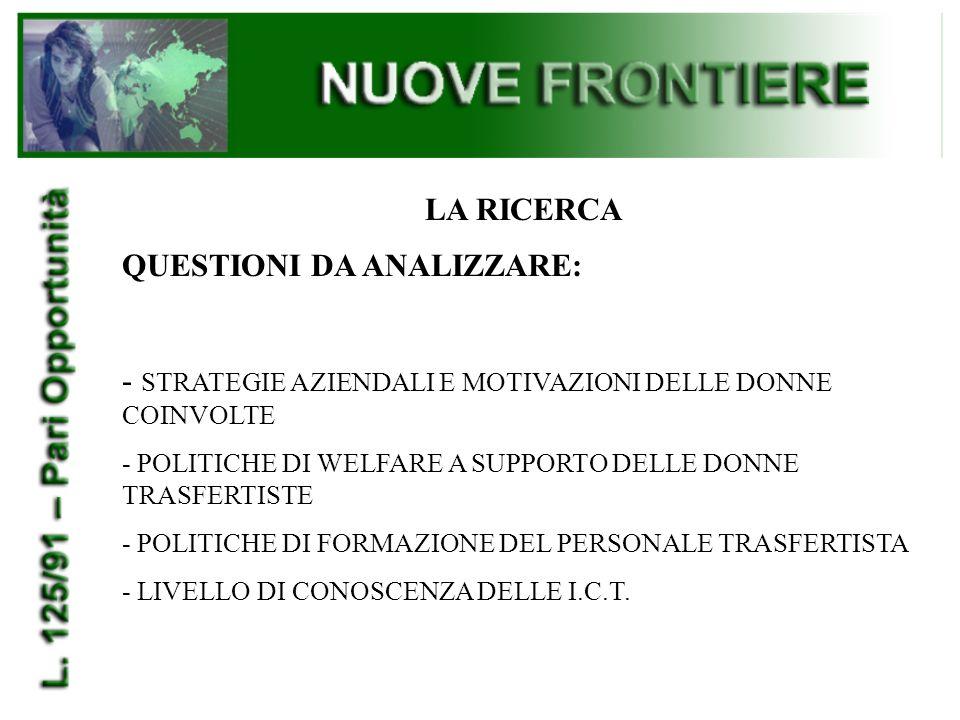 LA RICERCA QUESTIONI DA ANALIZZARE: - STRATEGIE AZIENDALI E MOTIVAZIONI DELLE DONNE COINVOLTE - POLITICHE DI WELFARE A SUPPORTO DELLE DONNE TRASFERTISTE - POLITICHE DI FORMAZIONE DEL PERSONALE TRASFERTISTA - LIVELLO DI CONOSCENZA DELLE I.C.T.