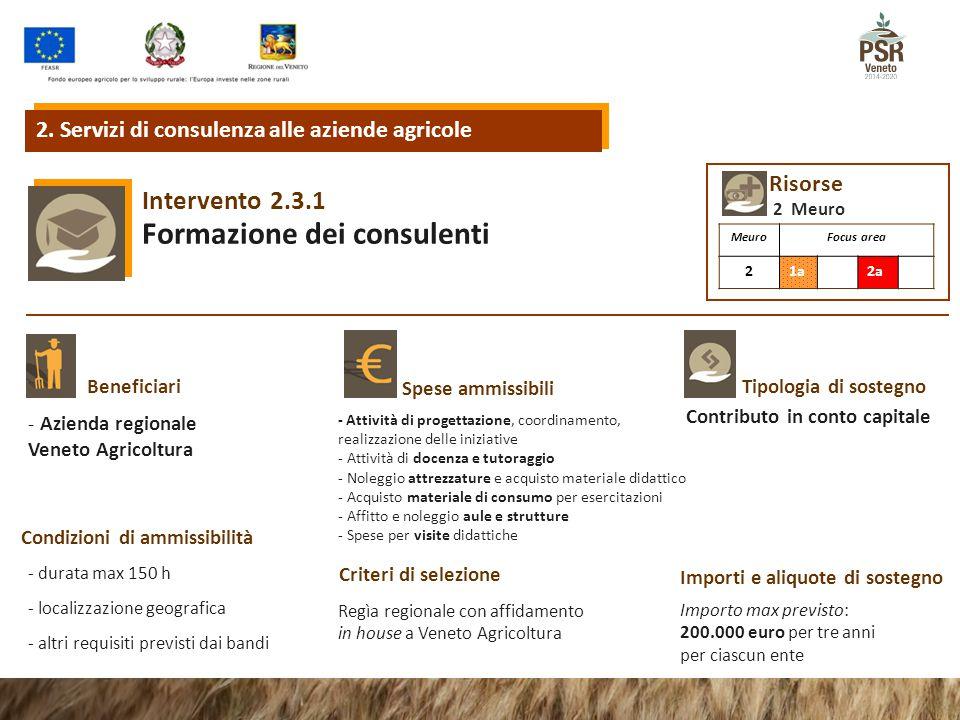 2.3.1Intervento Formazione dei consulenti Tipologia di sostegnoBeneficiari Spese ammissibili Condizioni di ammissibilità Criteri di selezione Importi