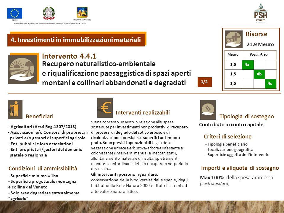 4.4.1Intervento Recupero naturalistico-ambientale e riqualificazione paesaggistica di spazi aperti montani e collinari abbandonati e degradati Tipologia di sostegnoBeneficiari Interventi realizzabili Condizioni di ammissibilità Criteri di selezione Importi e aliquote di sostegno - Agricoltori (Art.4 Reg.1307/2013) - Associazioni e/o Consorzi di proprietari privati e/o gestori di superfici agricole - Enti pubblici e loro associazioni - Enti proprietari/gestori del demanio statale o regionale Risorse Viene concesso un aiuto in relazione alle spese sostenute per investimenti non produttivi di recupero di processi di degrado del cotico erboso e di ricolonizzazione forestale su superfici un tempo a prato.