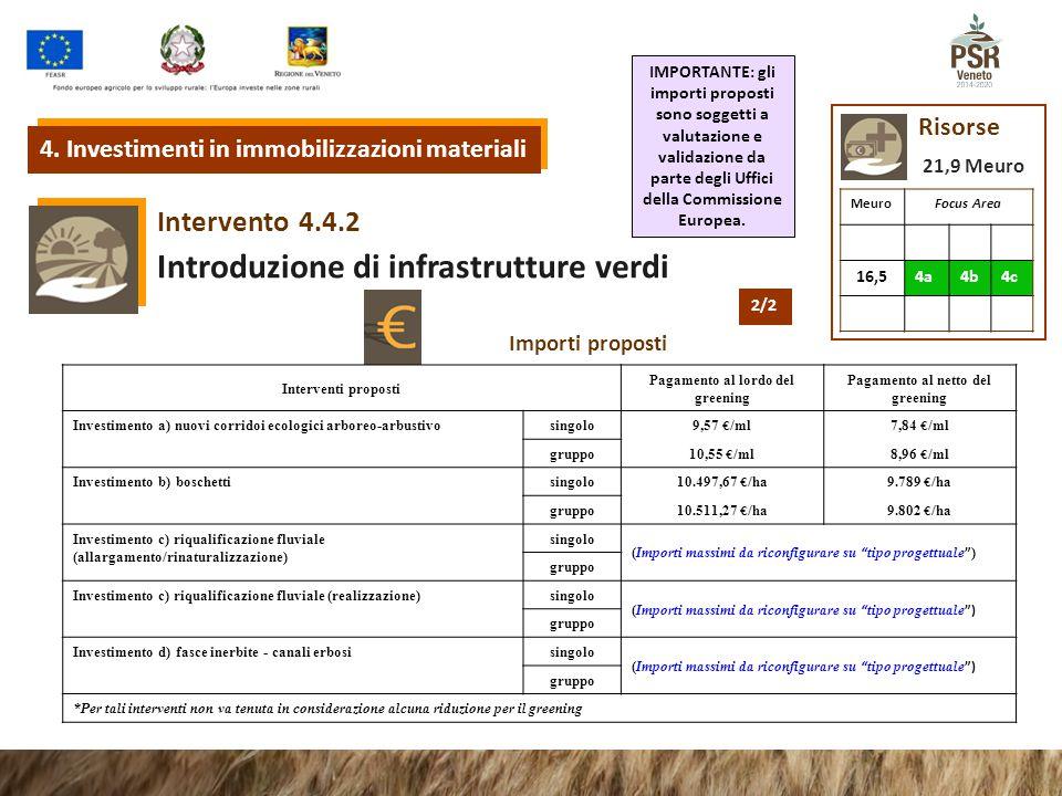 4.4.2 Intervento Introduzione di infrastrutture verdi Risorse 4. Investimenti in immobilizzazioni materiali MeuroFocus Area 16,54a4b4c 21,9 Meuro Impo