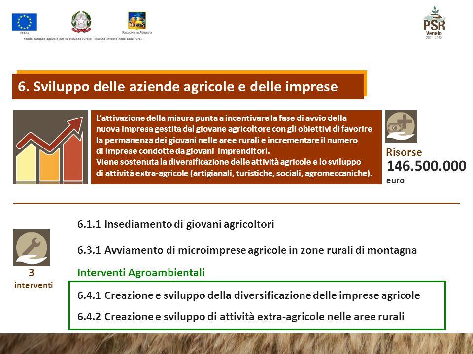 3 interventi 6.4.1 Creazione e sviluppo della diversificazione delle imprese agricole 6.4.2 Creazione e sviluppo di attività extra-agricole nelle aree