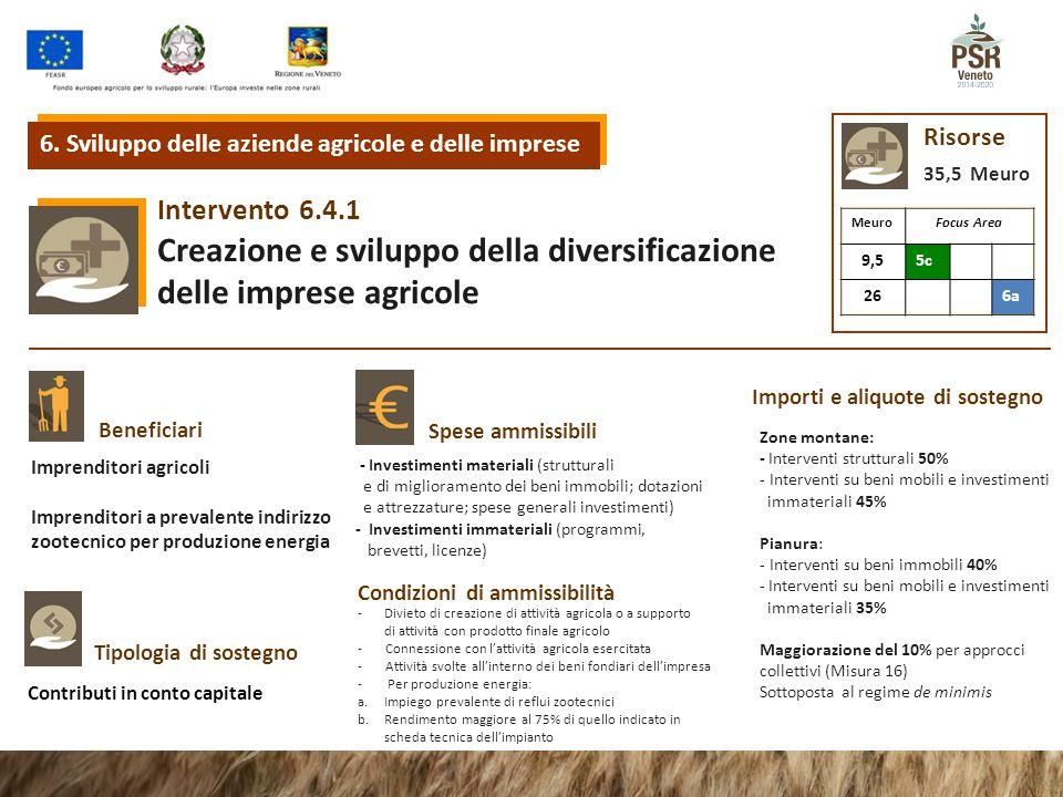 6.4.1Intervento Creazione e sviluppo della diversificazione delle imprese agricole Tipologia di sostegno Beneficiari Spese ammissibili Condizioni di a
