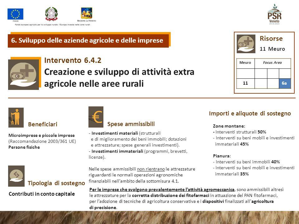 6.4.2Intervento Creazione e sviluppo di attività extra agricole nelle aree rurali 6. Sviluppo delle aziende agricole e delle imprese Risorse 11 Meuro