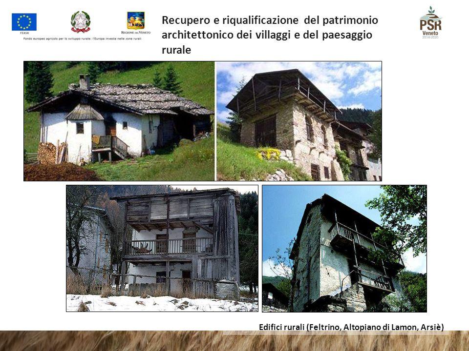 Edifici rurali (Feltrino, Altopiano di Lamon, Arsiè) Recupero e riqualificazione del patrimonio architettonico dei villaggi e del paesaggio rurale