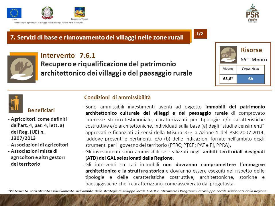 7.6.1Intervento Recupero e riqualificazione del patrimonio architettonico dei villaggi e del paesaggio rurale Beneficiari -Agricoltori, come definiti