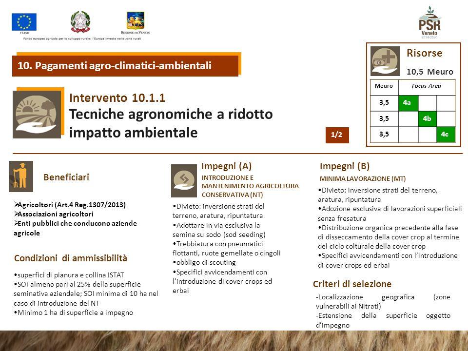 10.1.1 Intervento Tecniche agronomiche a ridotto impatto ambientale 10. Pagamenti agro-climatici-ambientali Risorse 10,5 Meuro MeuroFocus Area 3,54a 3