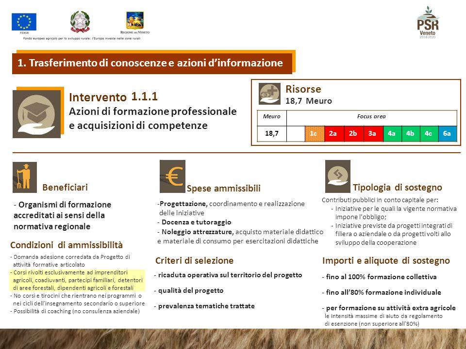 1.1.1 Intervento Azioni di formazione professionale e acquisizioni di competenze Tipologia di sostegnoBeneficiari Spese ammissibili Condizioni di ammi
