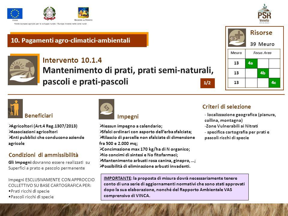 10.1.4 Intervento Mantenimento di prati, prati semi-naturali, pascoli e prati-pascoli Beneficiari Impegni Condizioni di ammissibilità Criteri di selez