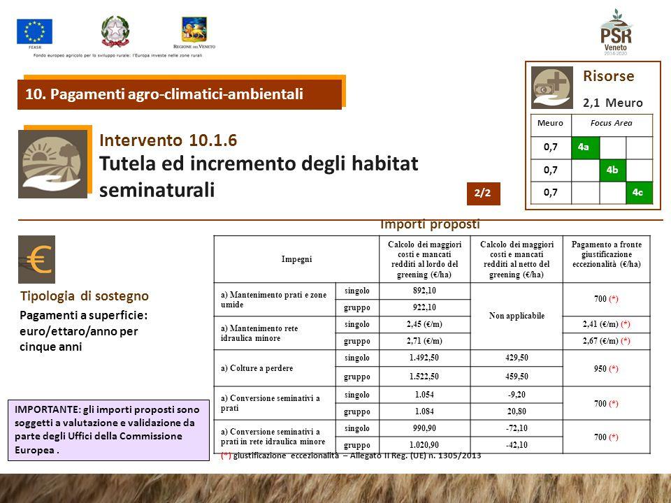 10.1.6 Intervento Tutela ed incremento degli habitat seminaturali 10. Pagamenti agro-climatici-ambientali Risorse 2,1 Meuro MeuroFocus Area 0,74a 0,74