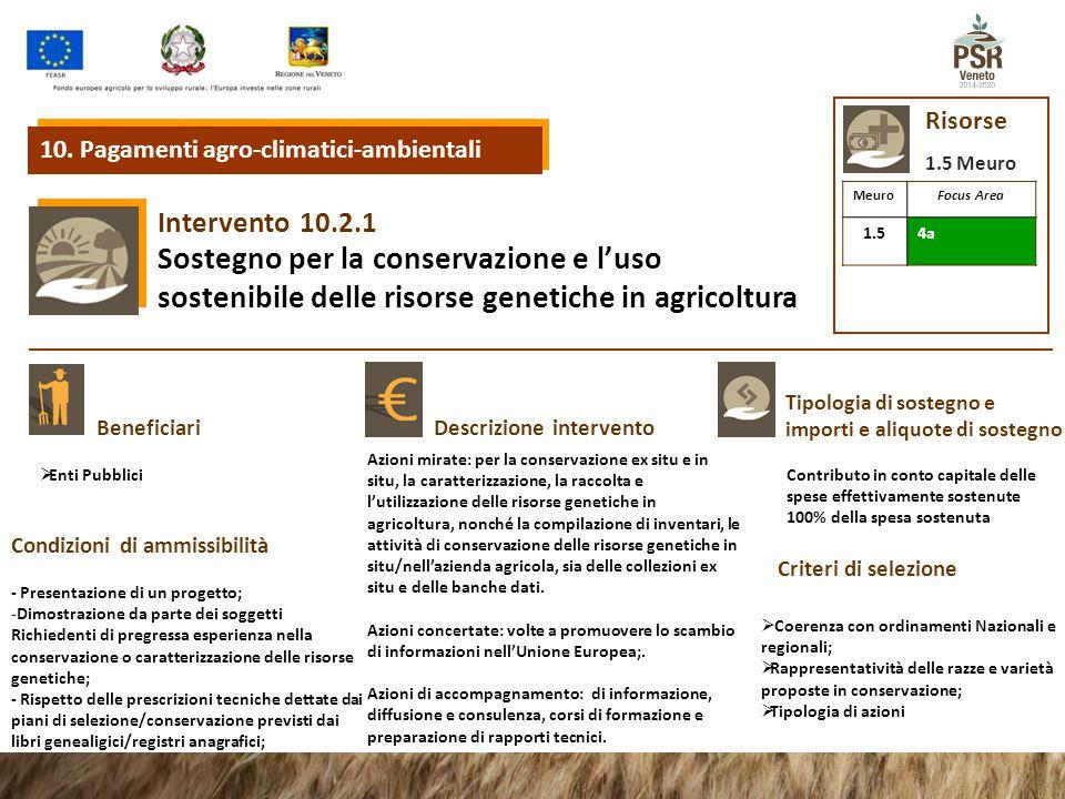10.2.1 Intervento Sostegno per la conservazione e l'uso sostenibile delle risorse genetiche in agricoltura Tipologia di sostegno e importi e aliquote