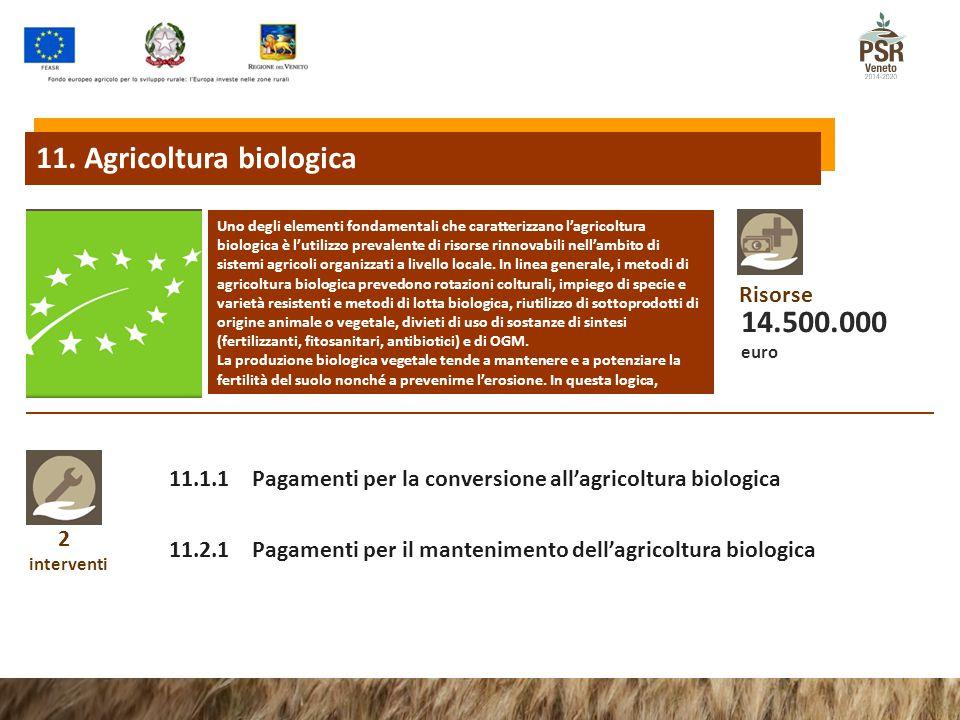 2 interventi 11.1.1 Pagamenti per la conversione all'agricoltura biologica 11.2.1 Pagamenti per il mantenimento dell'agricoltura biologica Uno degli elementi fondamentali che caratterizzano l'agricoltura biologica è l'utilizzo prevalente di risorse rinnovabili nell'ambito di sistemi agricoli organizzati a livello locale.